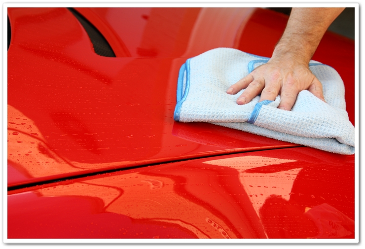 Waffle Weave Microfiber Towel blot drying your car