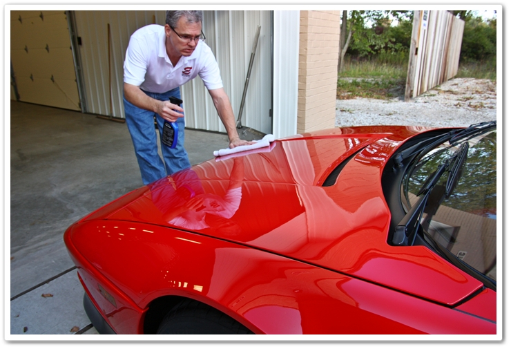 Spray wax your car