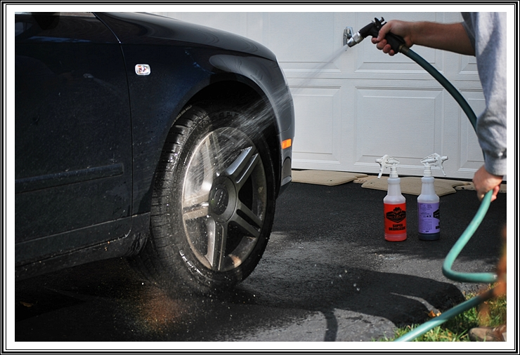 Dirty 2006 Audi A4 wheel pre-rinse