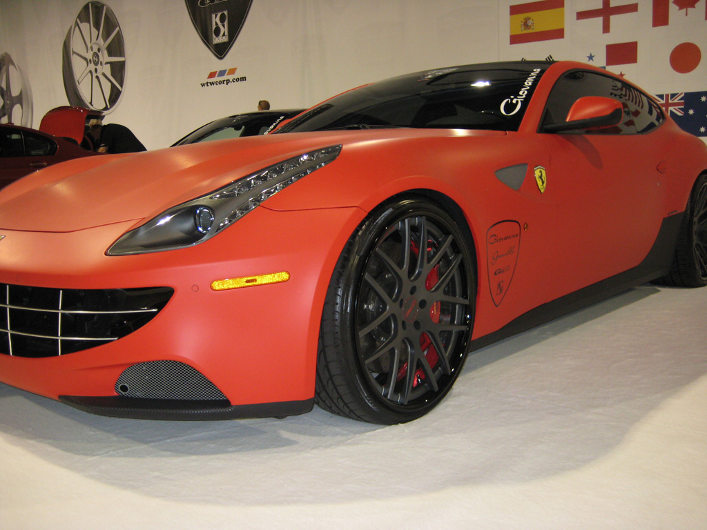 Red Vinyl Wrapped Ferrari