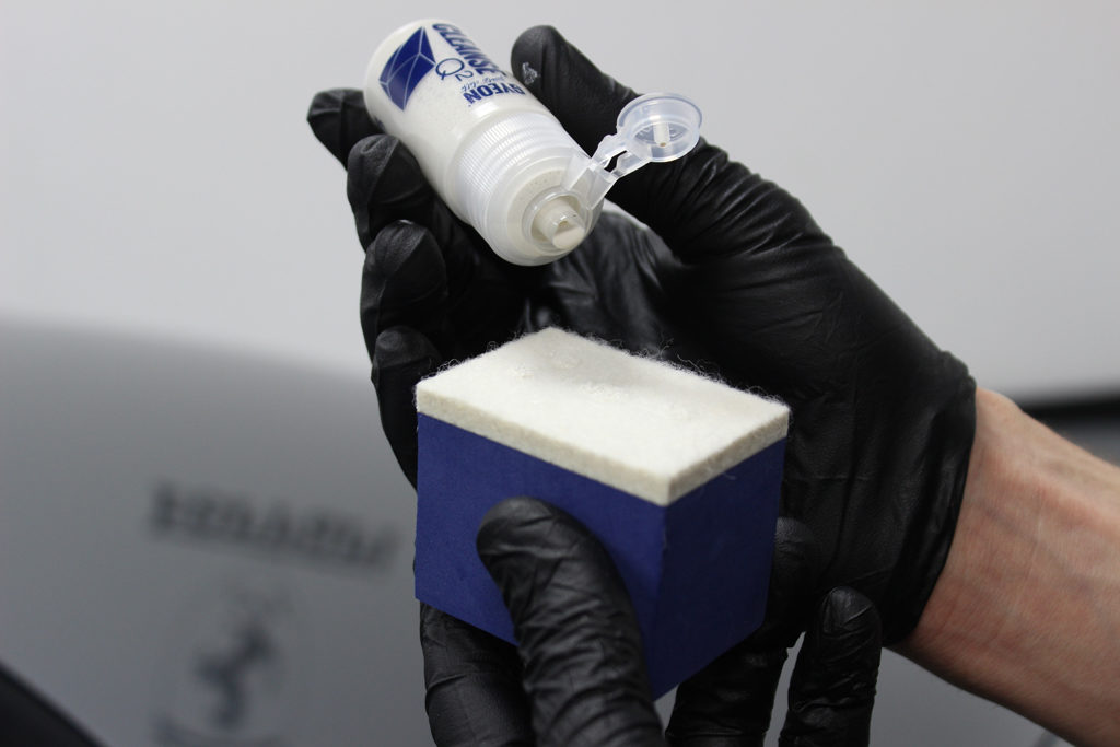 Applying Gyeon Cleanse to Large Foam Block