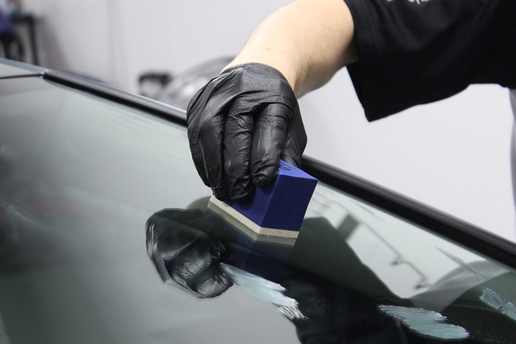 Applying Gyeon Cleanse to windshield
