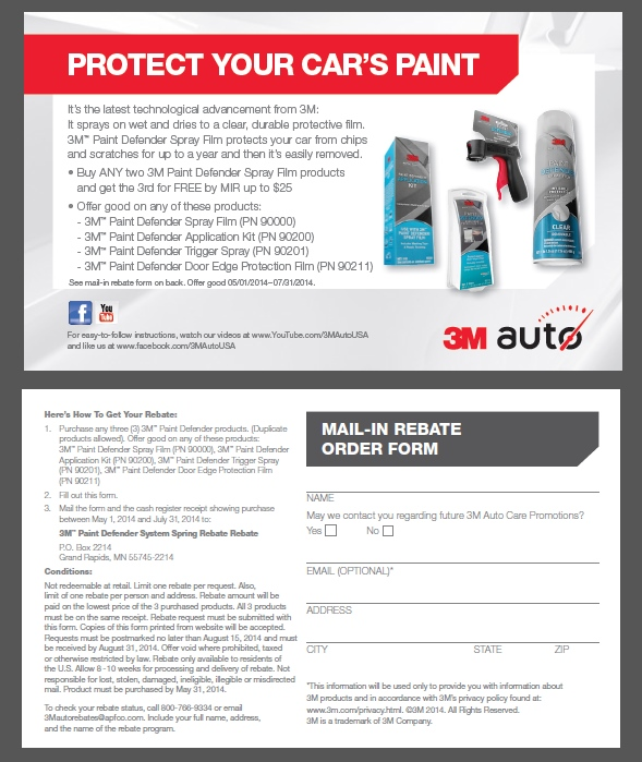 3M Paint Defender Spray Film Rebate Form
