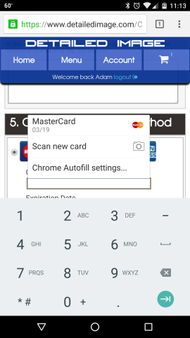 Scan a credit card