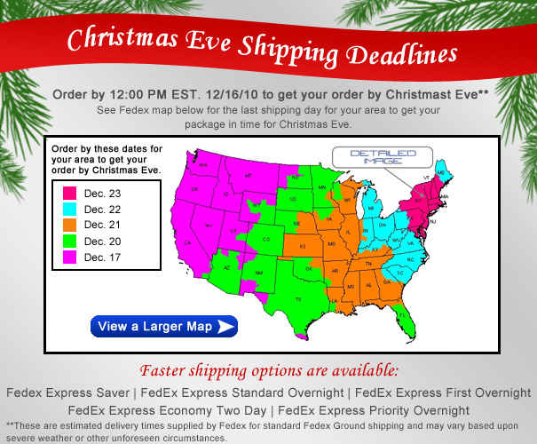 2010 Christmas Eve Shipping Deadlines