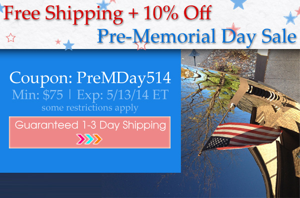 Free Shipping + 10% Off Pre-Memorial Day Sale