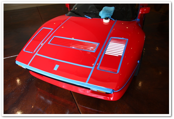 1985 Ferrari 288 GTO all taped up and ready for polishing