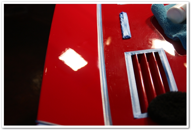 Rear deck lid polished with Menzerna SIP and an orange pad on a Ferrari 288 GTO
