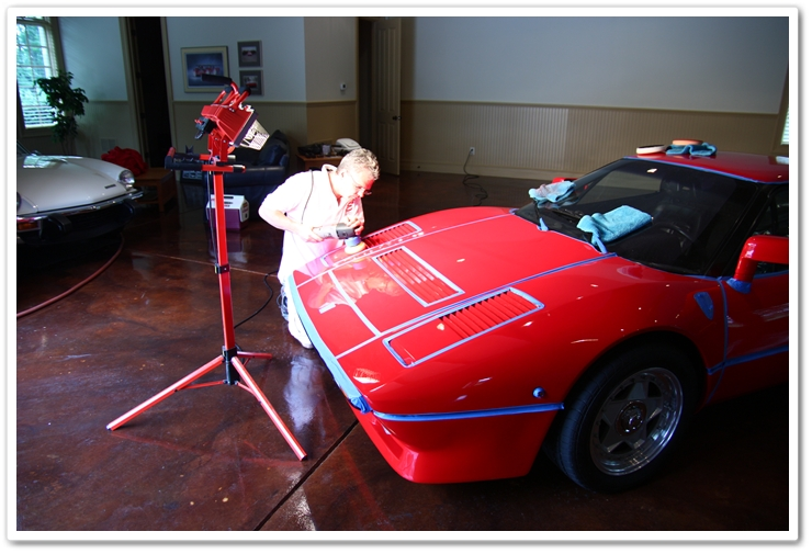 Polishing the front of a 1985 Ferrari 288 GTO with a Porter Cable 7424 XP buffer