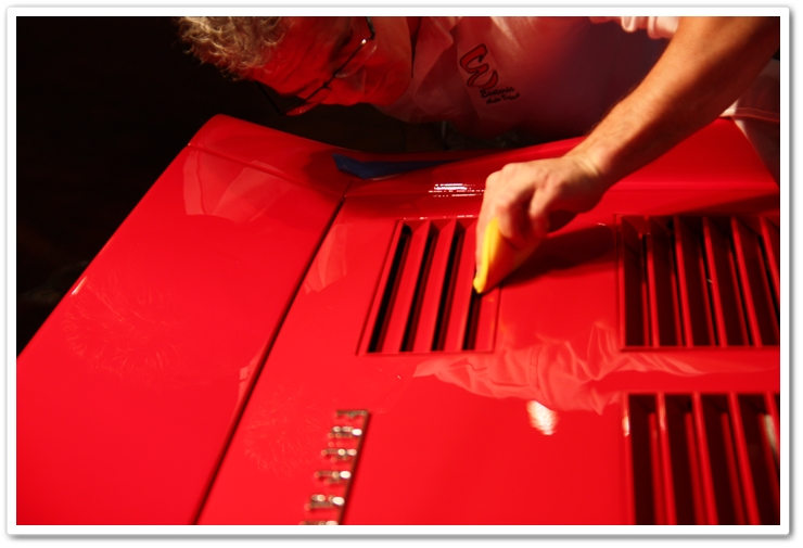 Cleaning the louvers on a 1985 Ferrari 288 GTO