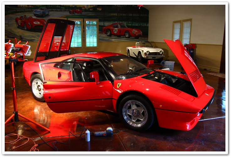 1985 Ferrari 288 GTO opened up to remove polishing dust.