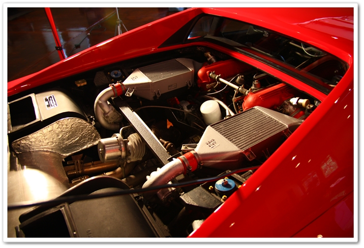 Engine bay of a 1985 Ferrari 288 GTO cleaned with Optimum No Rinse