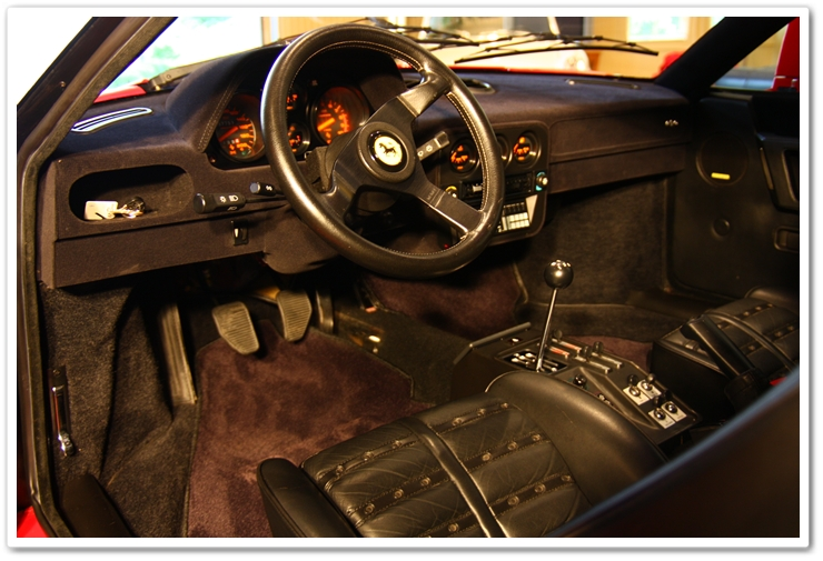 Interior detail of a 1985 Ferrari 288 GTO