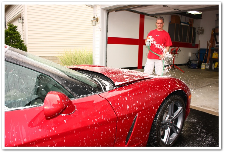 Pre-soaking a 2008 Chevy Corvette with Chemical Guys Citrus Wash and Clear to degrease paint