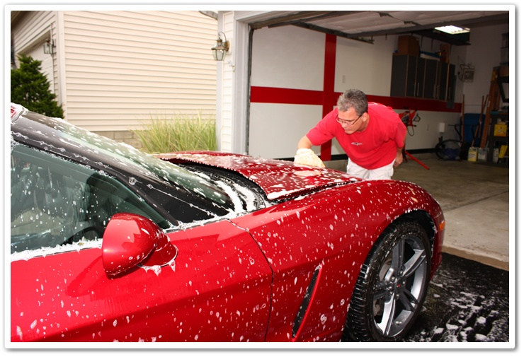Washing a 2008 Chevy Corvette with Chemical Guys Citrus Wash and Clear and sheepskin wash mitt