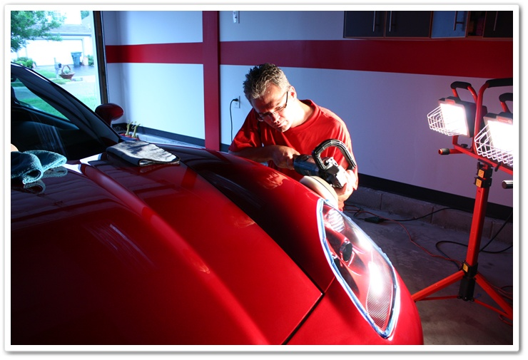 Polishing a 2008 Chevy Corvette with Menzerna PO203S Power Finish on a white pad with a Makita rotary buffer