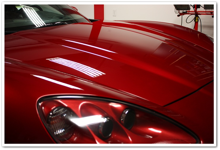 Corrected 2008 Chevy Corvette paint after polishing with Menzerna Power Finish