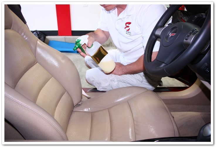 Applying Leatherique Prestine Clean to Corvette leather after allowing Rejuvenator Oil penetrate overnight