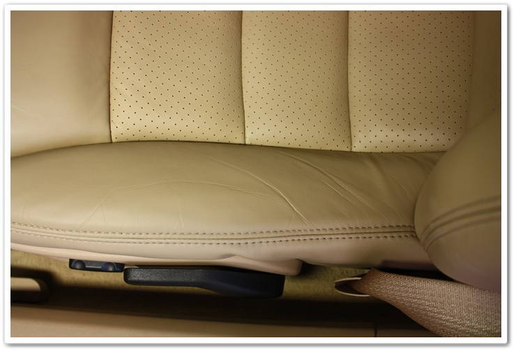 Leather seats in a 2008 Chevy Corvette after using the Leatherique 2 step process on them