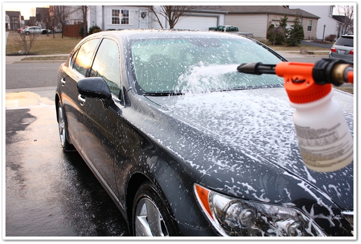 Soaking 2008 Lexus LS460L with Chemical Guys Citrus Wash and Clear in a Gilmour foam gun