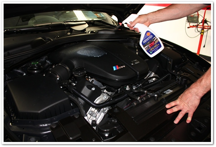 Applying 303 Aerospace Protectant to 2008 BMW M6 engine bay