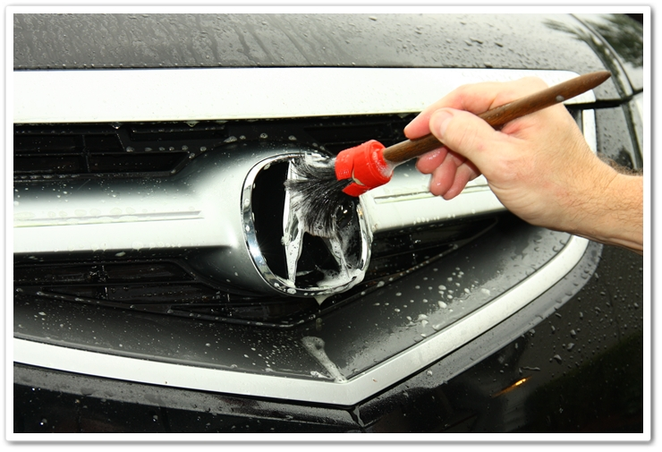 Working P21S Total Auto Wash into the trim with a soft bristle brush