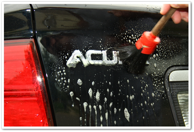 Working P21S Total Auto Wash around the emblems with a soft bristle brush