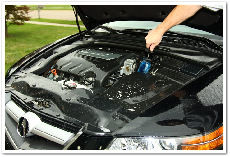Using an EZ Detail Brush in the engine bay to clean between pieces along with P21S Total Auto Wash