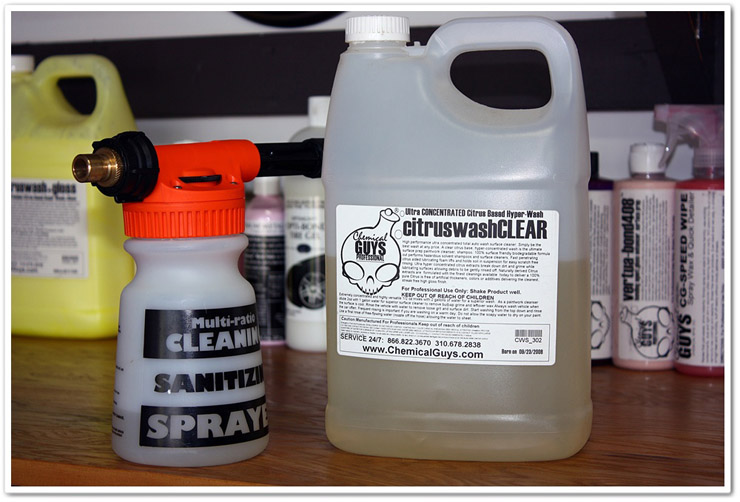 Chemical Guys Citrus Wash and Clear and Gilmour Foammaster II Foam Gun