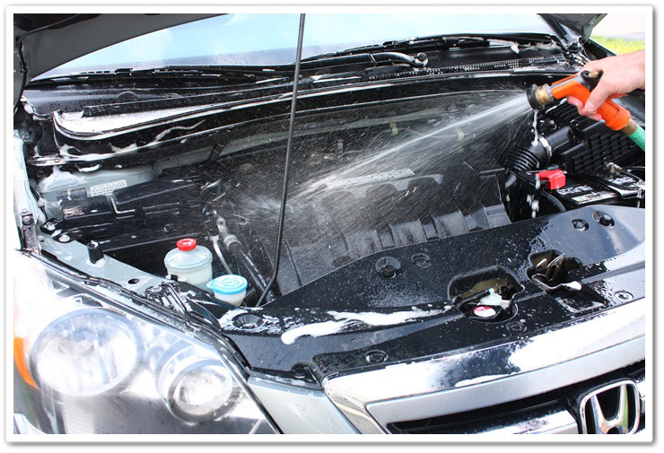 Rinsing degreaser off of your engine bay