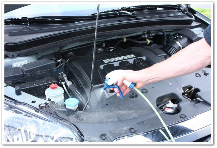 Spraying P21S Total Auto Wash in engine bay