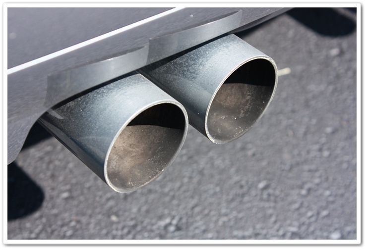 BMW M3 exhaust tips before detailing picture