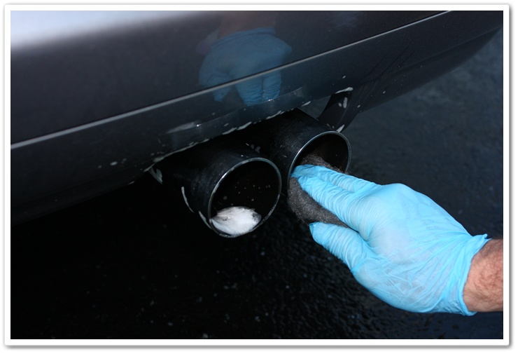 BMW M3 exhaust tips cleaneded with Chemical Guys Grime Reaper and 0000 grade steel wool