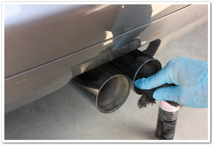 BMW M3 exhaust tips polished with OPT Metal Polish and 0000 grade steel wool