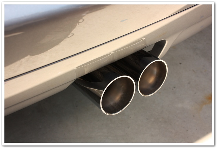 After picture of BMW M3 exhaust tips polished and detailed by Esoteric Auto Detail