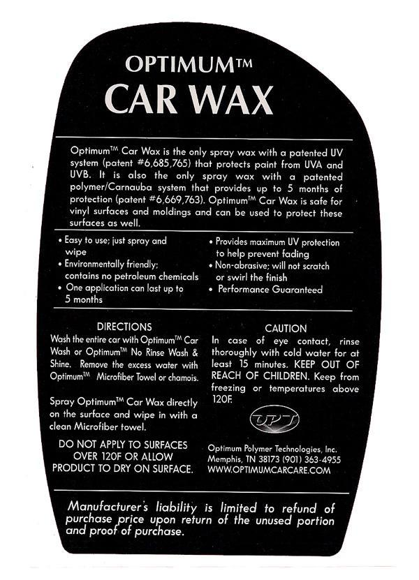 Spray Car Wash >> Optimum Car Wax - 17 oz | Free Shipping Available ...