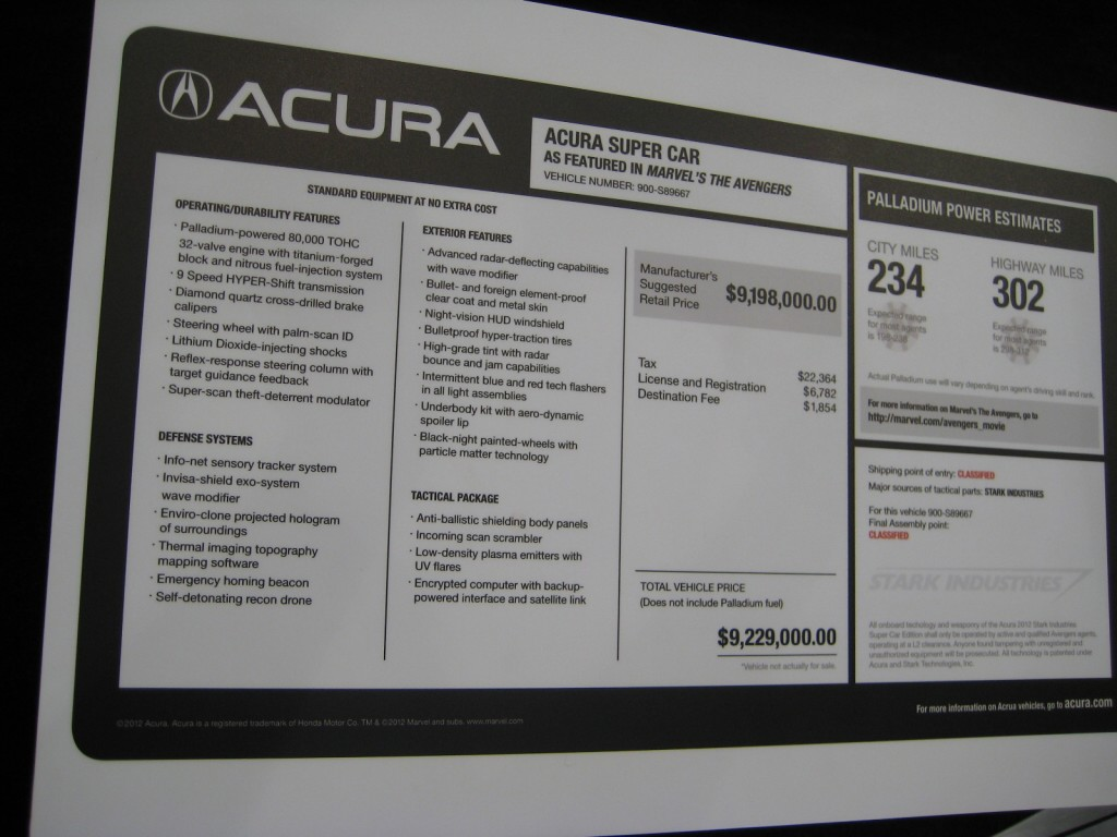 Acura Super Car as featured in Marvel's The Avengers sticker price
