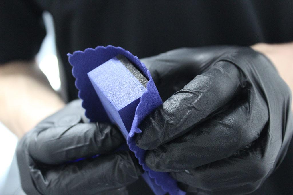 Wrap micro suede around small foam block
