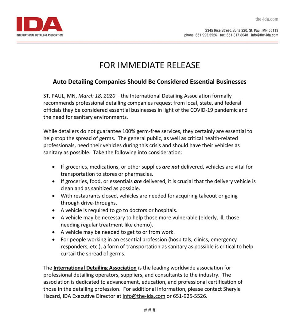 Internationl Detailing Association (IDA) Press Release 03-18-2020