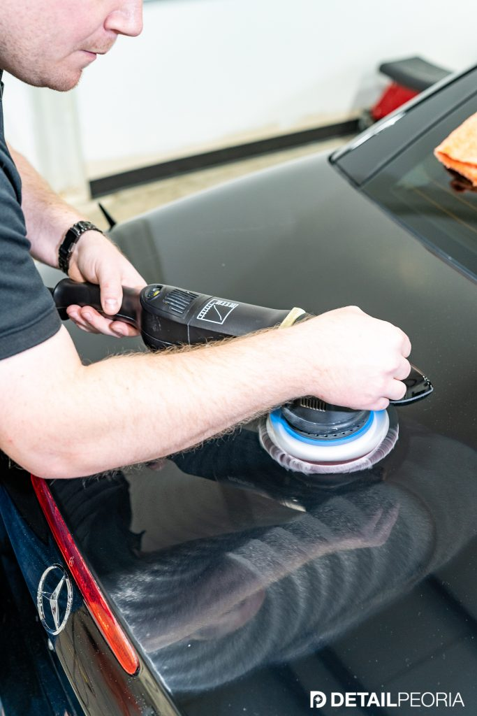 Compounding swirled black paint with rupes polisher and Car Pro Clearcut