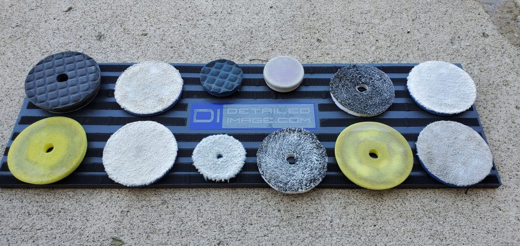 Dirty pads arranged on the board for washing