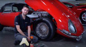 Jaguar E-Type - Wire Wheel Cleaning
