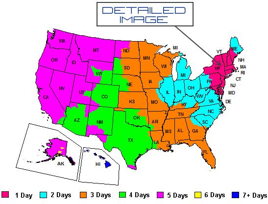 DI FedEx Shipping Map