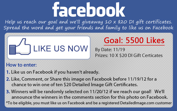 Facebook Contest for 10 x $20 DI Gift Certificates if we reach our goal of 5500 Facebook Likes by 11/19/2012. Like us on Facebook now and help us get reach our goal. Click for complete details