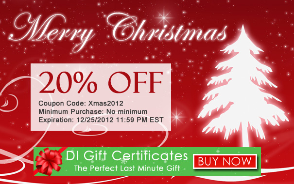 Merry 20% Off Christmas and DI Gift Certificates