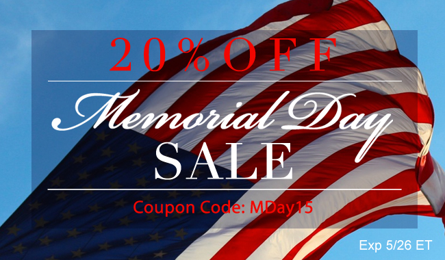20% Off Memorial Day! Coupon Code MDay15