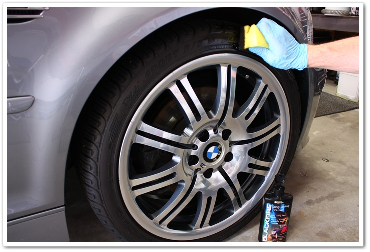 Applying Blackfire Long Lasting Tire Gel to BMW M3 tires