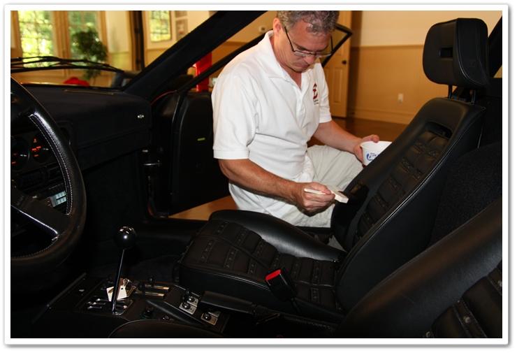 Applying Leatherique Rejuvenator Oil to 1985 Ferrari 288 GTO leather.