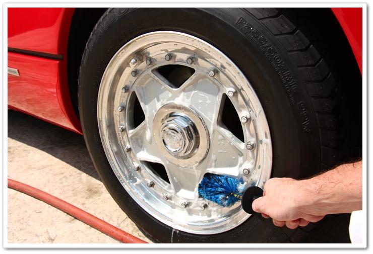 Ferrari 288 GTO wheels cleaned with a mini EZ Detail Brush and P21S Wheel Gel