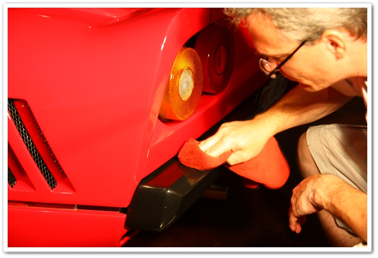 Applying Blackfire Wet Diamond to the bumpers of a 1985 Ferrari 288 GTO